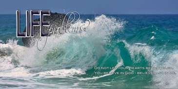 Church Banner featuring Crashing Waves with Inspirational Message