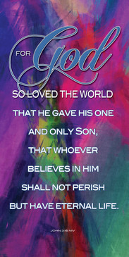 Church Banner featuring Colorful Vector with God So Loved The World Theme