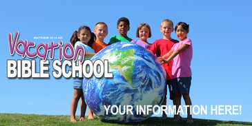Church Banner with Kids Around Glove for Vacation Bible School