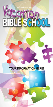 Church Banner featuring Brightly Colored Puzzle for Vacation Bible School