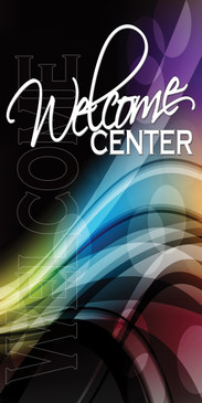 Church Banner featuring Colorful Vectors for Welcome Center Banner