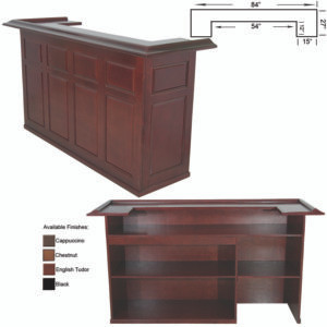 """7' Dry bar with removable shelf for fridge pocket available in black, chestnut, cappuccino and english tudor stains. 26""""x84""""x44"""""""