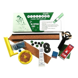Everything you need to replace a tip, kit includes a tube of tweetens 10-minute cement, pre-chalked leather tips, tip clamp, top sander, scuffer, 3 pieces of Master blue chalk and table spots.