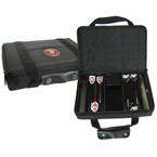 Padded hard shell case with carry handle. Holds 2 set of darts and has alot of storage room for accessories