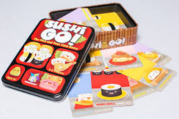Pass the sushi!! Score points by collecting the best combination of sushi dishes, in this easy to learn card game.  2-5 players     8+     15 min