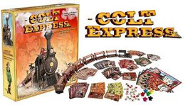 Colt Express is a board game of schemin' and stealing aboard a three dimensional steam train. You play as one of a group of ruthless bandits, dead set on grabbing as much loot and shooting as many bullets at your former companion as possible. Only the richest bandit can claim victory when the Colt Express pulls into the station.  2-6 players     10+     30-40 min