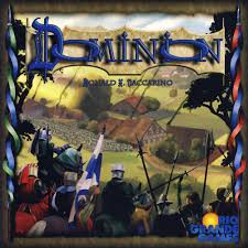 In this deck building card game you are a monarch trying to build the biggest Dominion! You must race to get as much unclaimed land as possible, fending your opponents off along the way. To do this you will hire minions, construct buildings, spruce up your castle, and fill the coffers with your treasury.  2-4 players     13+     <30 min