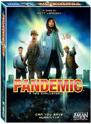 Can you save humanity in this co-operative game where deadly viruses are spreading around the world? Players take on a different role whithin the team and together treat diseases and share knowledge to prevent outbreaks and slow down the epidemic.  2-4 players     8+     30-90 min