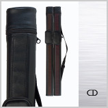 Black hard cue case with adjustable shoulder strap and accessory pocket will hold 1 butt ans 1 shaft standard pool or snooker cue