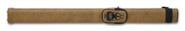 Tan hard cue case with adjustable shoulder strap available with flames, guns or wings embroidered on accessory pocket will hold 1 butt and 1 shaft standard pool or snooker cue