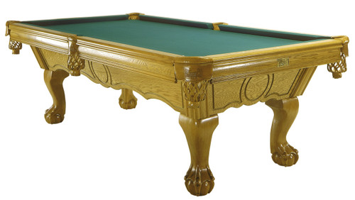 Canadiana pool tables are a stunning addition to any home game room with a dramatic double arch frame, solid oak rails and ball and claw legs.  With an unlimited choice of finishes, this billiard table comes in 2 sizes: 4' X 8' and 41/2'X9'.