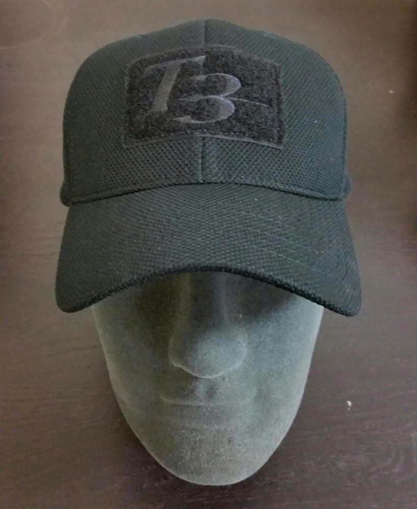T3 Embroidered Hat Adjustable, Black Color, Velcro patches on Front, Top, and Back.