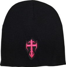 Women's Beanie - Black with Pink Kross