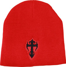 Women's Beanie - Red with Black Kross