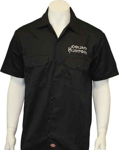 embroidered work shirt black seven clothing company