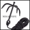 SWAT Black Steel Tactical Folding Climbing Ninja Grappling Hook-New w/Nylon Rope