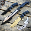 4PC MTECH SET FIXED BLADE HUNTSMAN KARAMBIT SPRING ASSISTED POCKET KNIFE