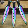 "3Pc 7.5"" Ninja Tactical Combat Kunai Throwing Knife Set W/Sheath Rainbow Titanium"