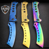 "3PC 9"" TACTICAL Razor Spring Assisted Open Folding Pocket Knife TITANIUM CLEAVER"