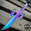 "28"" RAINBOW NINJA SWORD Full Tang Blade Katana Throwing Knife"