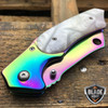"8"" TACTICAL Spring Assisted Open Pocket Knife CLEAVER RAZOR RAINBOW PEARL Blade"