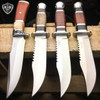 4 PC Fixed Blade Wood Hunting Knife Tactical Survival Bowie OUTDOOR Camping