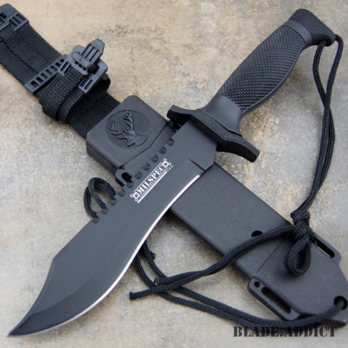 "12"" Hunting Fixed Blade Tactical Combat Survival Knife w/ Sheath Military Rambo"