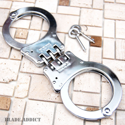 Professional Double Lock Chrome Steel Hinged Police Handcuffs w/ Keys Real EDC