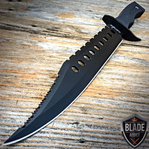 "17"" Tactical Hunting Rambo Full Tang Fixed Blade Knife Machete Bowie w/ Sheath o"