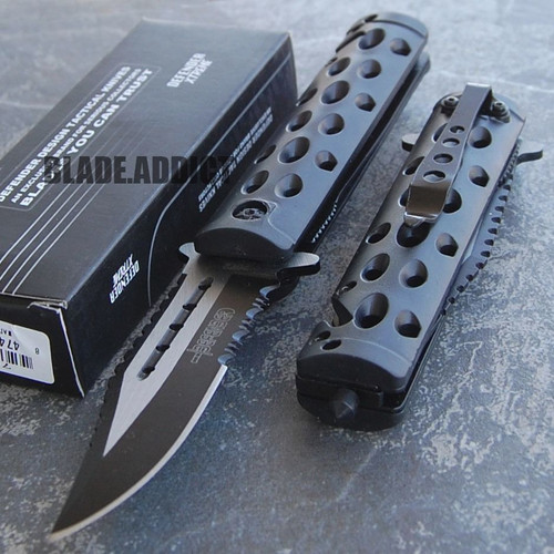 "8"" EXTREME TACTICAL SAWBACK BOWIE Spring Assisted Open Rescue Pocket Knife"