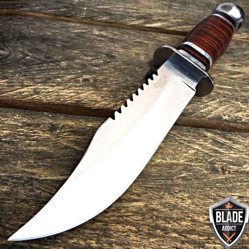 "10.5"" Stainless Steel Survival Skinning Hunting Knife Wood Bowie Camping"