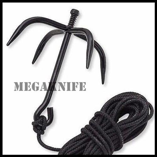 SWAT Black Steel Tactical Folding Climbing Ninja Grappling Hook-New w/Nylon Rope