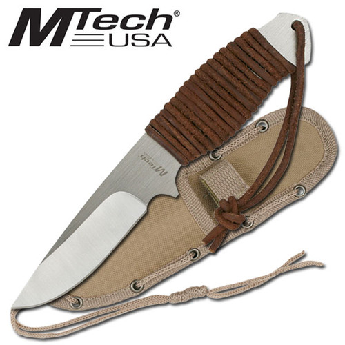 "8"" MTECH TACTICAL SURVIVAL Leather Hunting FIXED BLADE KNIFE Army Bowie w/ SHEATH"