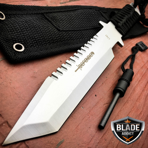 "11"" Hunting Tactical Combat Camping Survival Knife w/ Firestarter Bowie"