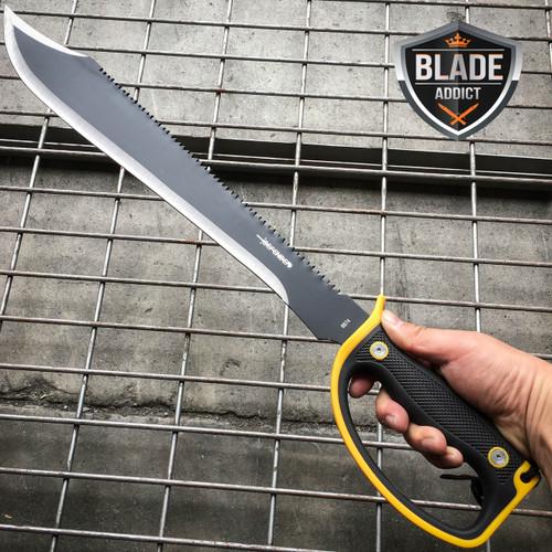 "24"" HUNTING SURVIVAL Sawback Military FULL TANG MACHETE Blade Knife SWORD"