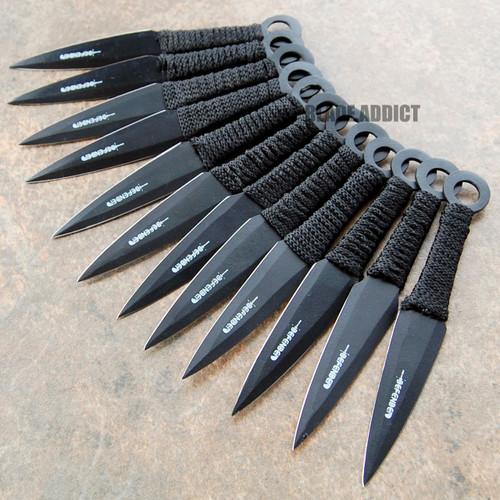 "12 Pc 6"" Ninja Tactical Combat Naruto Kunai Throwing Knife Set Hunting + Sheath"