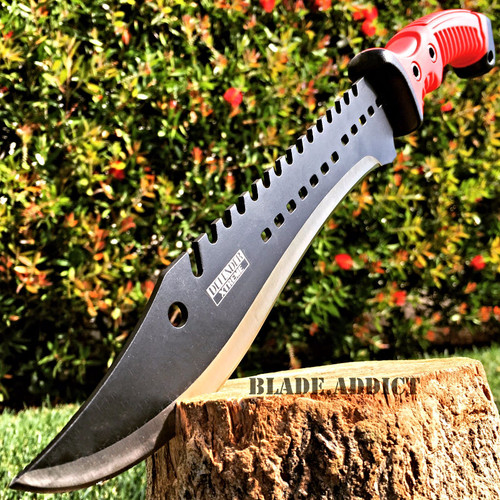 "15.5"" TACTICAL HUNTING SURVIVAL BLADE MACHETE Rambo Knife Sword Camping RED"