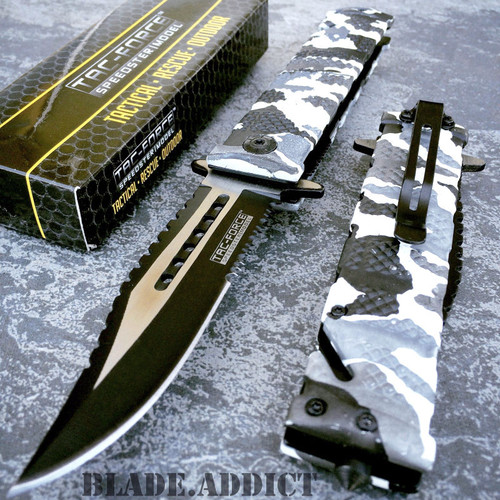 TAC FORCE Spring Assisted Open SAWBACK BOWIE Tactical Rescue Pocket Knife Camo