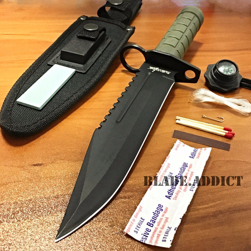 "12"" Tactical Hunting Army Rambo Fixed Blade Knife Machete Bowie w Survival Kit GN"