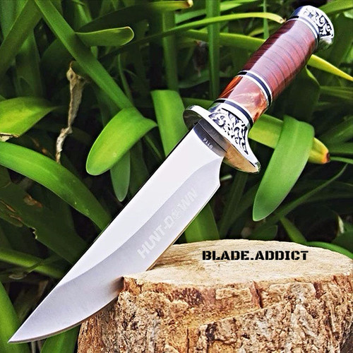 "10"" Full Tang Fixed Blade Knife Hunting Skinning Survival Army Bowie Blade Wood"