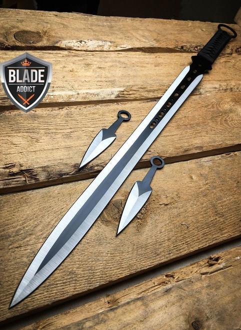 "27"" Ninja Sword Machete Throwing Knife Full Tang Tactical Blade Black Katana"