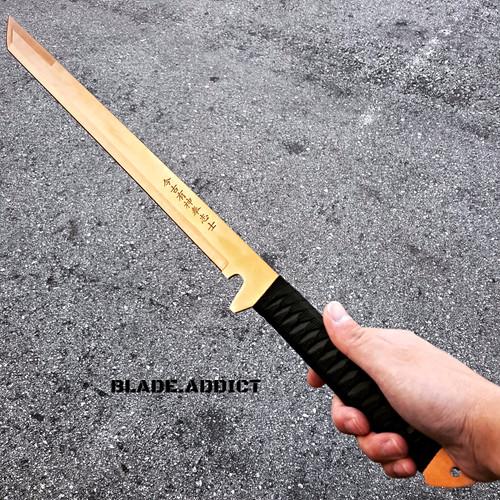 "27"" GOLD FULL TANG NINJA MACHETE KATANA SWORD TACTICAL KNIFE"