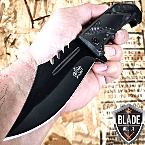 "8.5"" BALLISTIC SPEAR TACTICAL SPRING ASSISTED OPEN FOLDING POCKET KNIFE EDC BK"