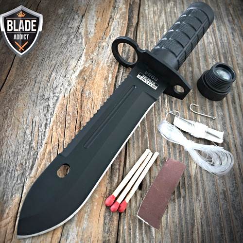 """9"""" Tactical Hunting Rambo BLACK Fixed Blade Knife Military Bowie + Survival Kit"""
