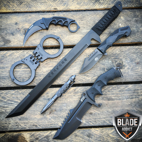 6PC All Black Tactical Ninja Assassin Set - Sword Knives Tactical Pen Handcuffs