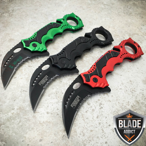 "3PC 8"" KARAMBIT Hawkbill Tactical Claw Spring Assisted Pocket Knife Rescue Blade"