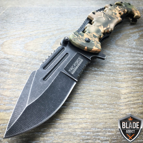"8"" TAC FORCE Spring Assisted Opening FOREST CAMO Tactical Rescue Pocket Knife"