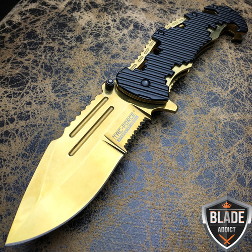 "8"" TAC FORCE Spring Assisted Opening GOLD Tactical Rescue FOLDING Pocket Knife"