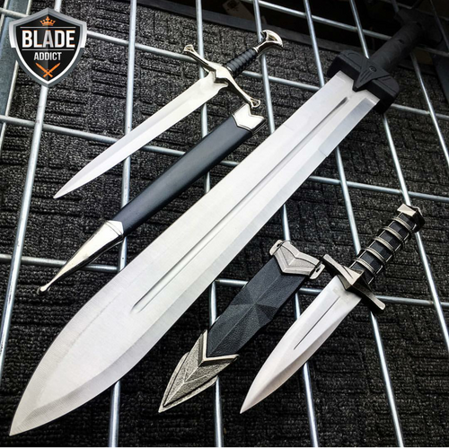3PC FANTASY GLADIATOR ROMAN SWORD MACHETE KNIVES SET