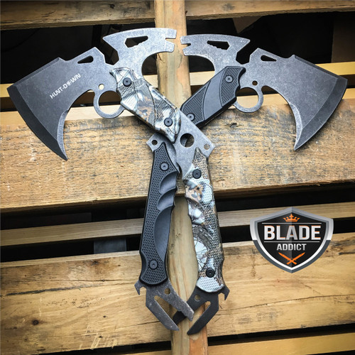 "2PC 13"" SURVIVAL TOMAHAWK TACTICAL THROWING AXE STONEWASH BATTLE Hatchet Knife"